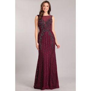 2140 Burgundy Prom Dress